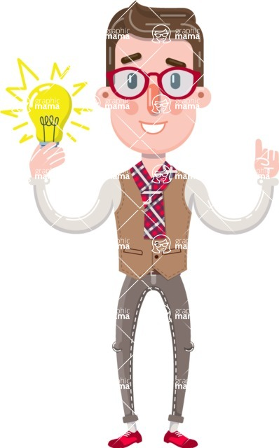 Smart Office Man Cartoon Character in Flat Style - with an Idea