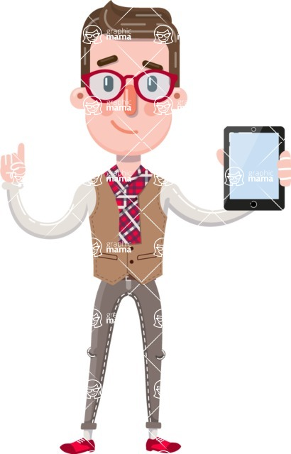 Smart Office Man Cartoon Character in Flat Style - Holding tablet