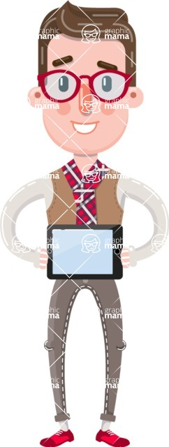 Smart Office Man Cartoon Character in Flat Style - Showing tablet
