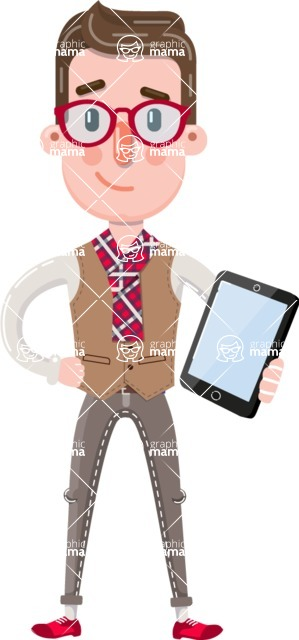 Smart Office Man Cartoon Character in Flat Style - Holding an iPad