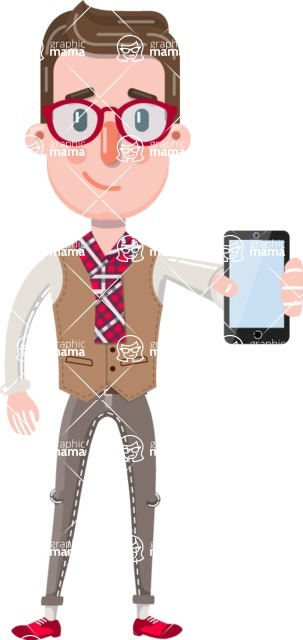 Smart Office Man Cartoon Character in Flat Style - Holding a smartphone