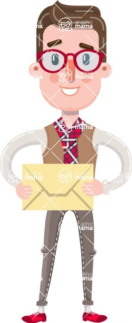 Smart Office Man Cartoon Character in Flat Style - Holding mail envelope
