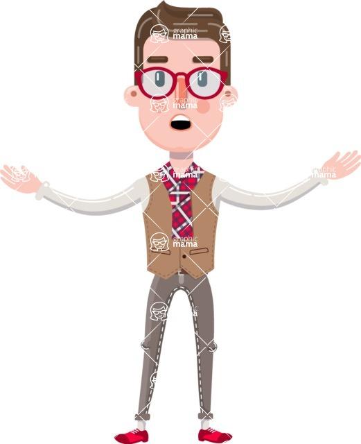 Smart Office Man Cartoon Character in Flat Style - Feeling Lost