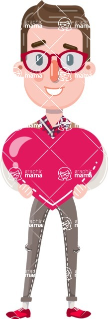 Smart Office Man Cartoon Character in Flat Style - Holding heart