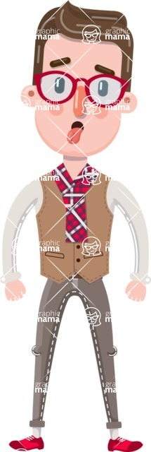 Smart Office Man Cartoon Character in Flat Style - Making Funny face