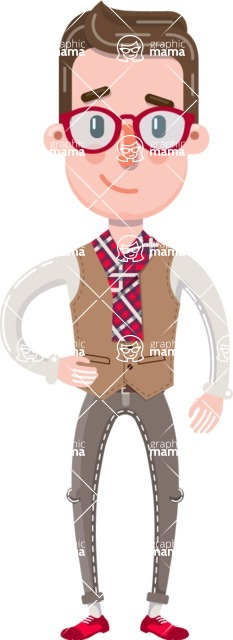 Smart Office Man Cartoon Character in Flat Style - Smiling