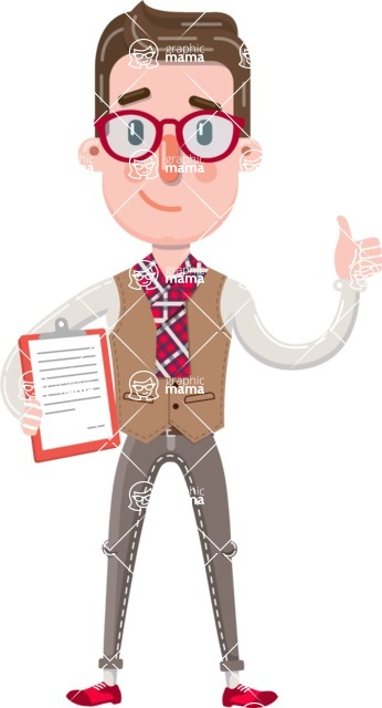 Smart Office Man Cartoon Character in Flat Style - Making thumbs up with notepad