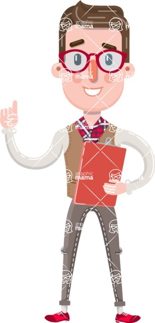 Smart Office Man Cartoon Character in Flat Style - Holding a notepad