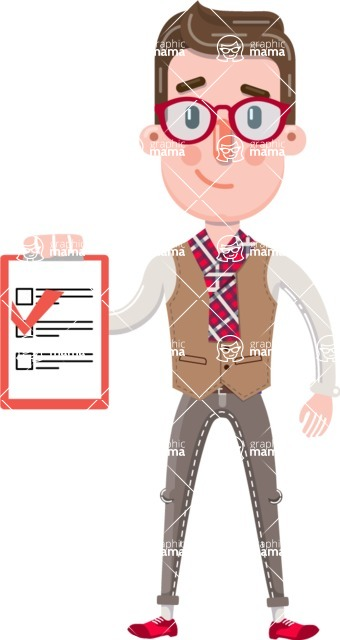 Smart Office Man Cartoon Character in Flat Style - Smiling and holding notepad