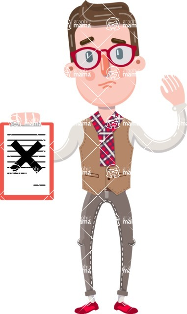 Smart Office Man Cartoon Character in Flat Style - Holding a notepad with an X