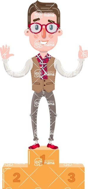 Smart Office Man Cartoon Character in Flat Style - with Success on Top