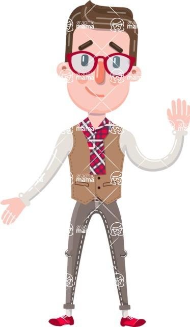 Smart Office Man Cartoon Character in Flat Style - Making Oops gesture