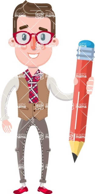 Smart Office Man Cartoon Character in Flat Style - Holding Pencil