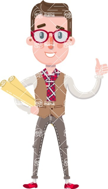 Smart Office Man Cartoon Character in Flat Style - Holding Plans