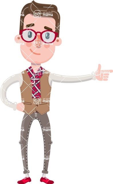 Smart Office Man Cartoon Character in Flat Style - Pointing with left hand