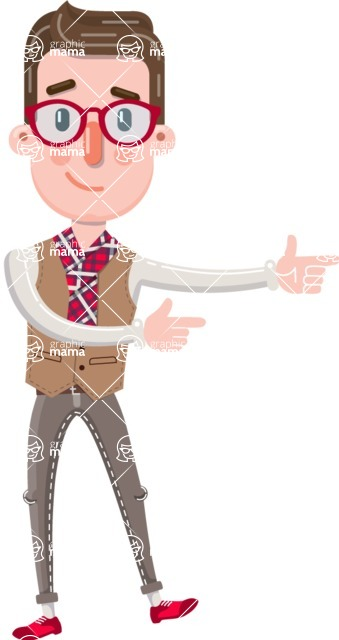 Smart Office Man Cartoon Character in Flat Style - Pointing with both hands