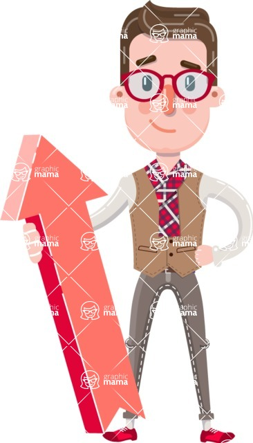 Smart Office Man Cartoon Character in Flat Style - with Up arrow