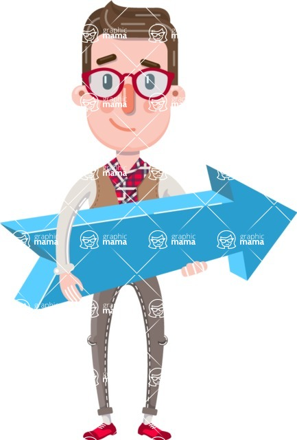 Smart Office Man Cartoon Character in Flat Style - with Positive arrow