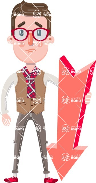 Smart Office Man Cartoon Character in Flat Style - with Arrow going Down
