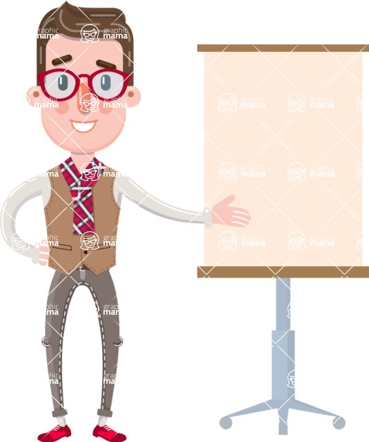Smart Office Man Cartoon Character in Flat Style - with a Blank Presentation board