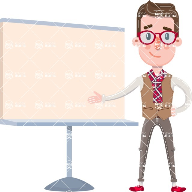 Smart Office Man Cartoon Character in Flat Style - Pointing on a Blank whiteboard