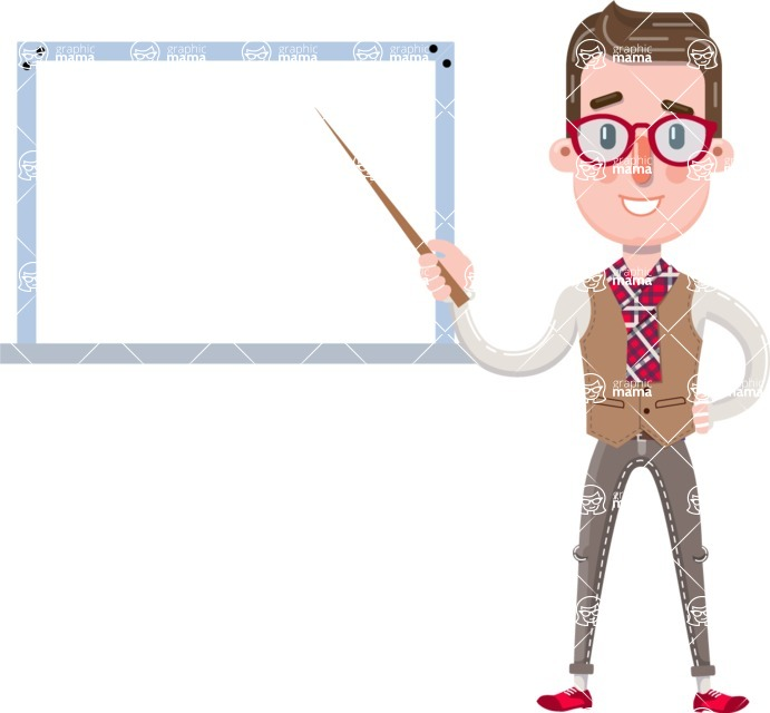 Smart Office Man Cartoon Character in Flat Style - Making a Presentation on a Blank white board