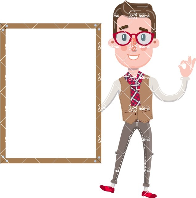 Smart Office Man Cartoon Character in Flat Style - Making OK sign with Big Presentation board