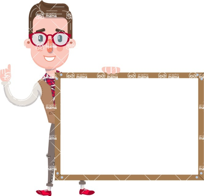 Smart Office Man Cartoon Character in Flat Style - Showing on Big whiteboard
