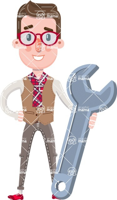 Smart Office Man Cartoon Character in Flat Style - with Repairing tool wrench