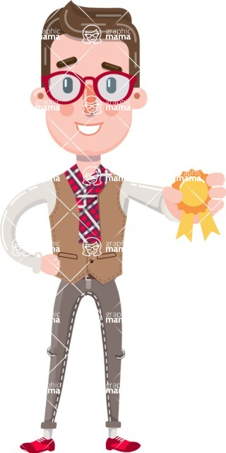 Smart Office Man Cartoon Character in Flat Style - Winning prize