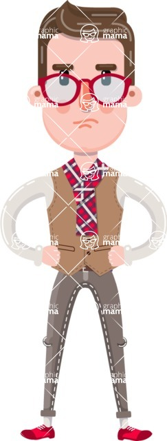 Smart Office Man Cartoon Character in Flat Style - Rolling Eyes