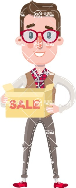 Smart Office Man Cartoon Character in Flat Style - with Sale boxes