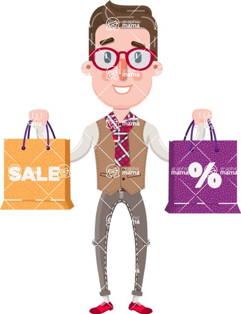 Smart Office Man Cartoon Character in Flat Style - Holding shopping bags