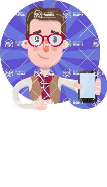 Smart Office Man Cartoon Character in Flat Style - Shape 1