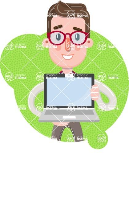Smart Office Man Cartoon Character in Flat Style - Shape 11