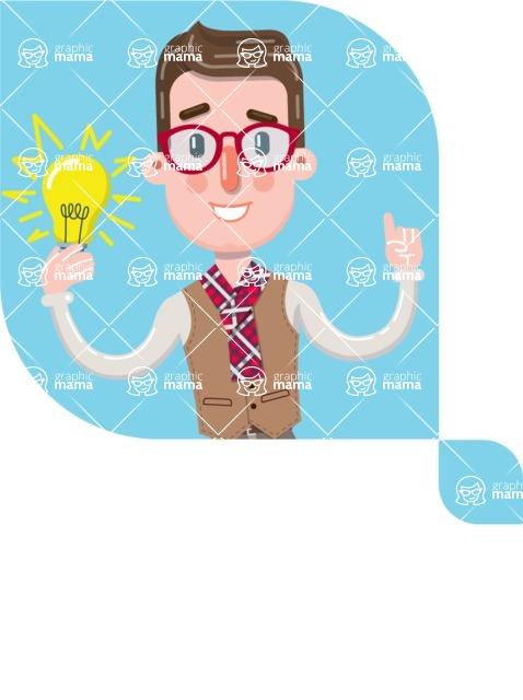 Smart Office Man Cartoon Character in Flat Style - Shape 12