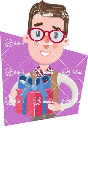 Smart Office Man Cartoon Character in Flat Style - Shape 2