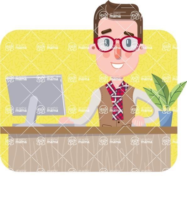 Smart Office Man Cartoon Character in Flat Style - Shape 3