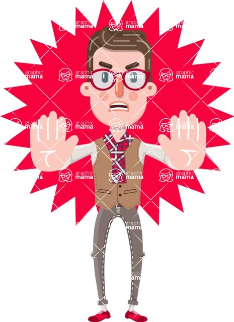 Smart Office Man Cartoon Character in Flat Style - Shape 4