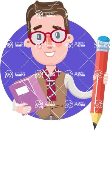 Smart Office Man Cartoon Character in Flat Style - Shape 5
