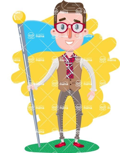 Smart Office Man Cartoon Character in Flat Style - Shape 6