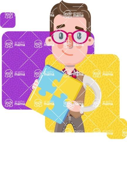 Smart Office Man Cartoon Character in Flat Style - Shape 7