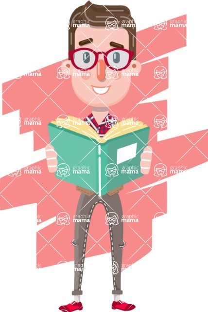 Smart Office Man Cartoon Character in Flat Style - Shape 8