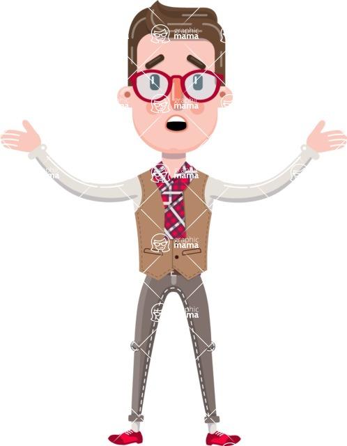 Smart Office Man Cartoon Character in Flat Style - Feeling Shocked