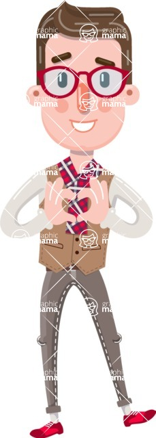 Smart Office Man Cartoon Character in Flat Style - Showing Love