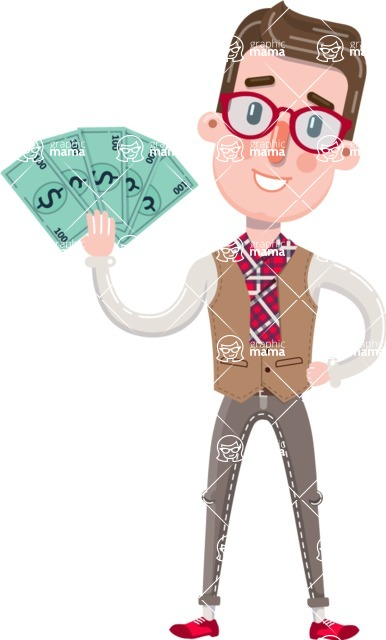 Smart Office Man Cartoon Character in Flat Style - Holding Money