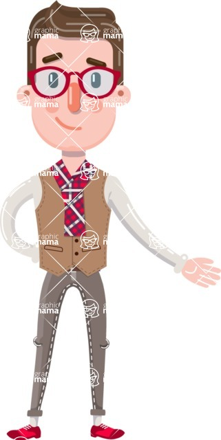 Smart Office Man Cartoon Character in Flat Style - Showing with left hand