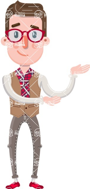 Smart Office Man Cartoon Character in Flat Style - Showing with both hands