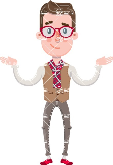 Smart Office Man Cartoon Character in Flat Style - Presenting with both hands