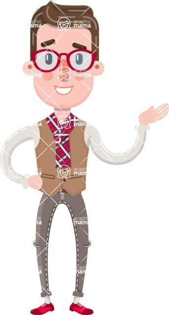 Smart Office Man Cartoon Character in Flat Style - Showing with right hand